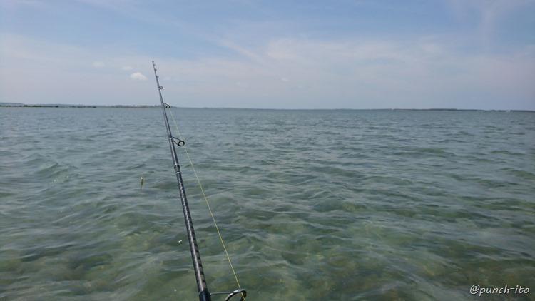 日中は立ち込まないと熱くて釣りできません、ポンフー